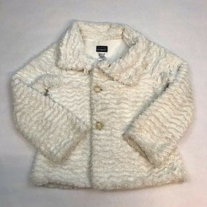 Patagonia Girls White Textured Faux Fur Coat
